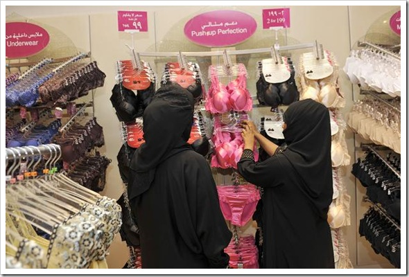 Women buying lingerie